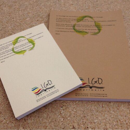 IGO imprimerie blocs recyclés